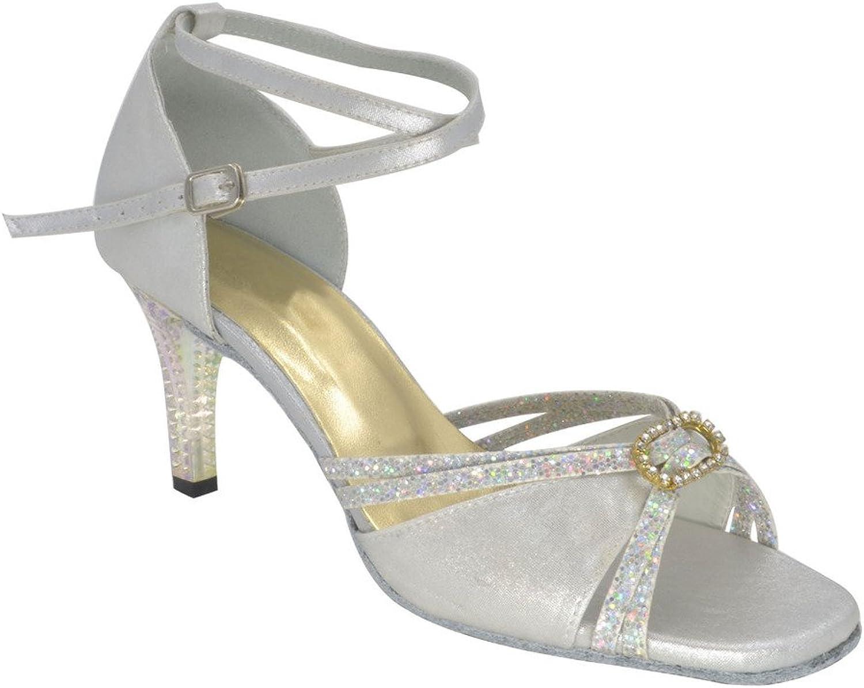 Misu Women's Peep Toe Sandals Latin Salsa Tango Practice Ballroom Dance shoes with 3.0  Heel
