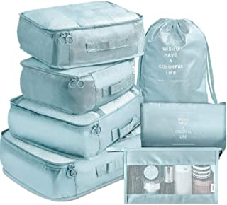 NANAO Packing Cubes 7 Pcs Travel Luggage Packing Organizers Set with Toiletry Bag (Pale blue)