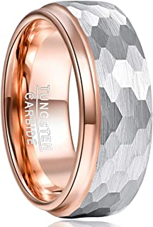 TUNGSTORY 8mm Tungsten Wedding Band Ring Hammered Faceted Brushed Finish Rose Gold Plated Step Edge Size 7-12