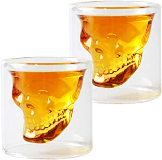 HwaGui Coole Schädel Shotglas 2er-Set Whiskey oder Vodka Gläser Tasse für Party Kristallschädel Design Glas 80ml/2.8oz
