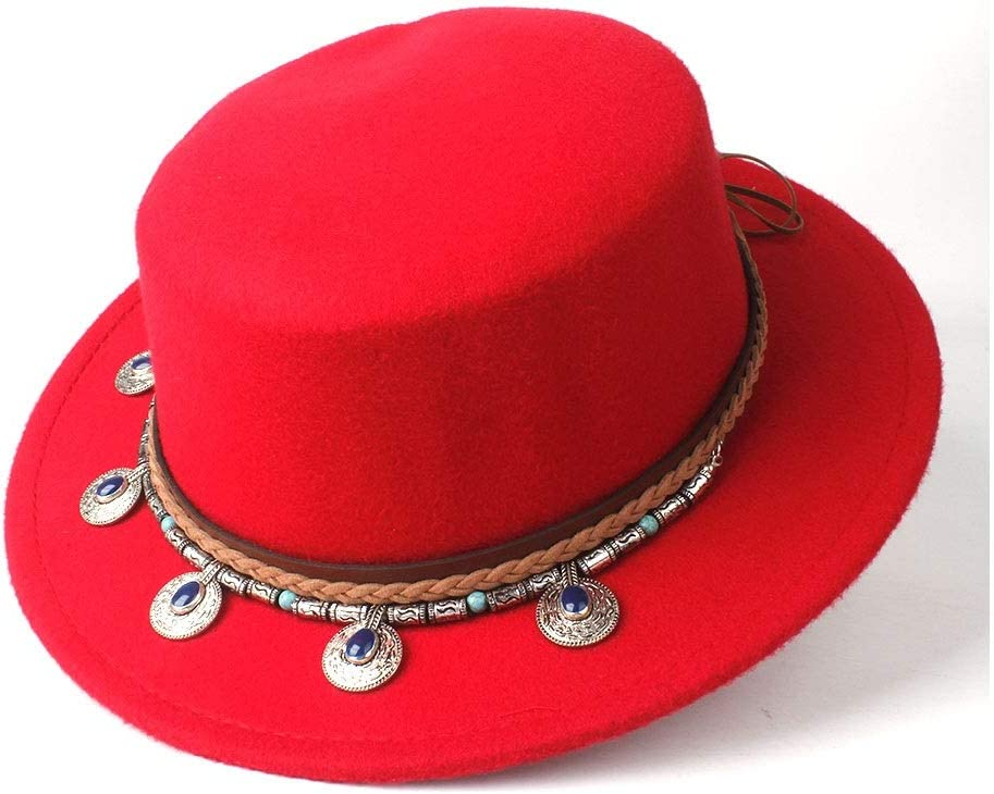 LIRRUI Men Women Wool Flat Top Fedora Hat Wide Brim Hat Dance Party Hat Wool Trilby Church Wide Brim Hat 56-58CM (Color : Red, Size : 56-58)
