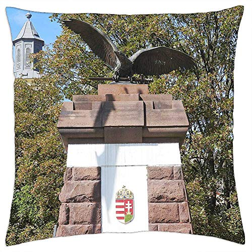 LESGAULEST Throw Pillow Cover (24x24 inch) - Monument Turulmadar Turulvogel Hungarian Mythology
