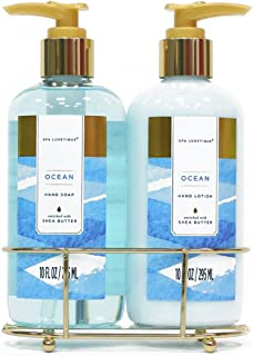 Spa Luxetique Hand Soap and Hand Lotion Caddy Set, Ocean Hand Cream Gift Set, Ideal Gift for the Holidays, Christmas, Birthday, Mother's Day, Valentine's Day, Thank You Gift