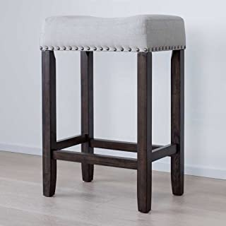 "Nathan James 21302 Hylie Nailhead Wood Pub-Height Kitchen Counter Bar Stool 24"", Gray/Dark Brown"