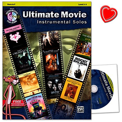Ultimate Movie Instrumental Solos For Horn (F)–Free piano accompaniment Parts included On CD–Note LIBRO con CD e colorata herzfoermiger Note KLAMMER