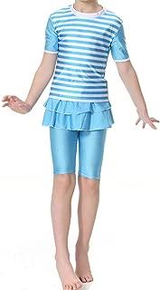 CaptainSwim Kid's Short Sleeve Swimsuit Muslim Islamic Two Piece Modest Swimwear