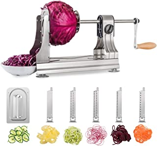 WellToBe Spiral Vegetable Slicer, Tri-Blade Stainless Steel Vegetable Spiralizer, One-Hand Veggie Pasta Spaghetti Maker fo...