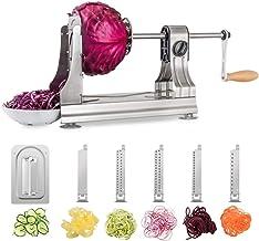 WellToBe Spiral Vegetable Slicer, 6 Blade Stainless Steel Vegetable Spiralizer, One-hand Veggie Pasta Spaghetti Maker for ...