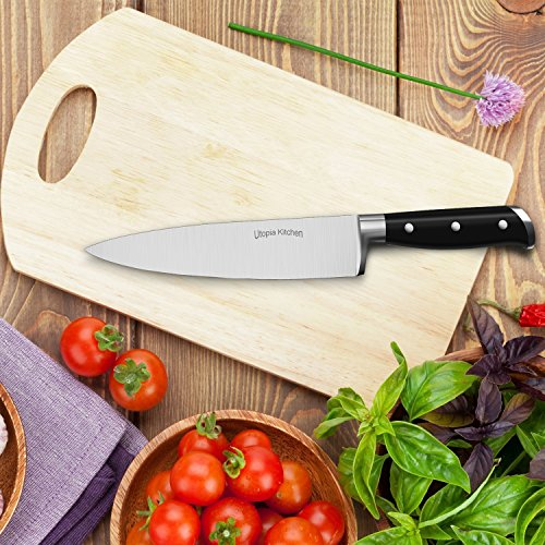 Utopia Kitchen Chef Knife 8 Inches Cooking Knife Carbon Stainless Steel Kitchen Knife with Sheath and Ergonomic Handle - Chopping Knife for Professional Use