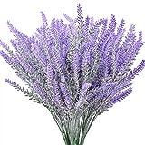 12 Piezas de Flores de Lavanda flocadas Artificiales Planta de Lavanda Falsa para Boda decoración del hogar Mesa de Oficina jardín decoración