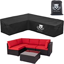 ClawsCover L-Shaped Sectional Sofa Covers Waterproof Outdoor Tear Proof Patio Couch Cover Garden Furniture Protector,6 Win...