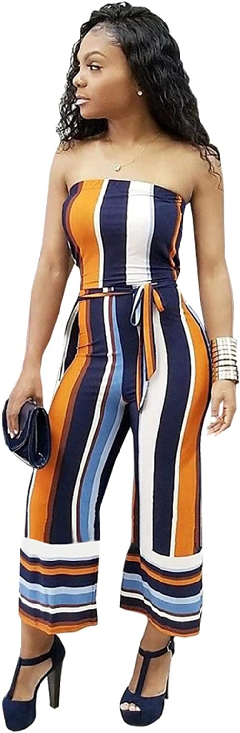 Elegant Strapless Backless Sash Wide Leg Pants Jumpsuit
