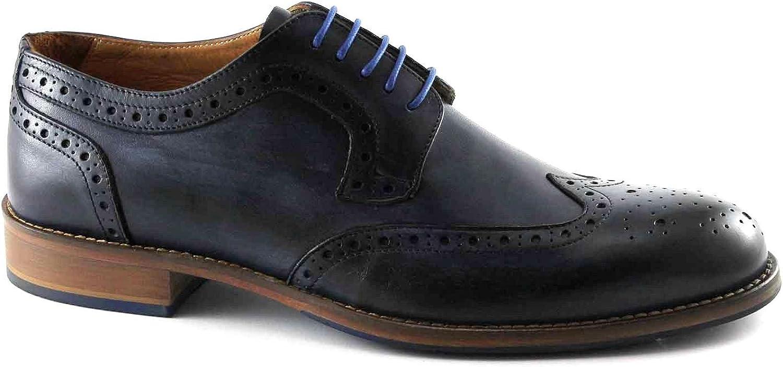 Melluso U90112 Blaue Schuhe Mann Derby stilvollen englischen Lederkappe