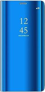 Tianyan Funda para Samsung Galaxy Note 4,Espejo Clear View Flip Cover Carcasa Plegable Soporte,Funda para Samsung Galaxy Note 4,Azul