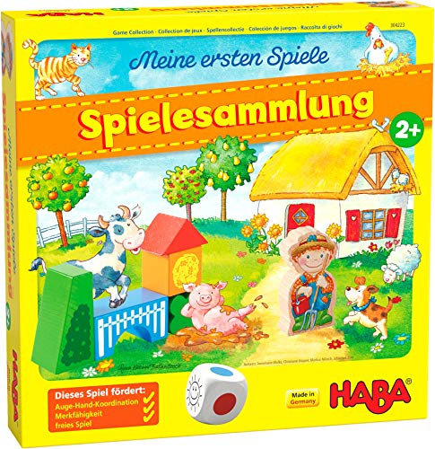 HABA 304223 - Meine ersten Spiele – Spielesammlung, 10 erste Spiele auf dem Bauernhof für 1-3 Kinder ab 2 Jahren