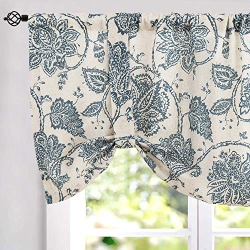 Tie Up Valances for Kitchen Windows Jacobean Floral Printed Tie-up Valance Curtains Rod Pocket Adjustable Rustic Linen Textured Tie-up Shade for Small Windows 18 Inches Long 1 Panel Blue