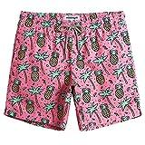 MaaMgic Hombre Bañador de Playa Tropical Vacaciones y Viajes en Verano con Bolsillos Rosa Piña Grande L