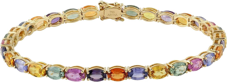 Women Gift Natural Sapphire Tennis Gold 18k Popular products Memphis Mall Yellow Bracelet Jewe