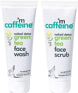 mCaffeine Quick Green Tea Detox Kit   Dirt Removal, Exfoliation   Vitamin C   Face Wash, Face Scrub   Paraben & SLS Free