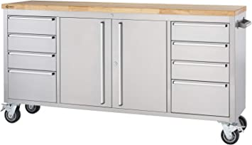 Stainless Steel Rolling Rubberwood Top Workbench Amazon Ca Tools Home Improvement