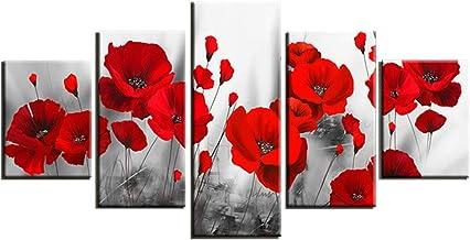 Bon March/é Noir et blanc sur toile murale Art du Vert Coquelicots/ /Motif floral contemporain Tableaux/ /1138/ /Wallfillers/®