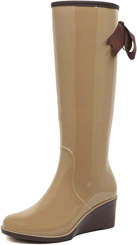 Pilusooou Elegant Women Mid Calf Brown Butterfly Wedge Wellies Rain Boots