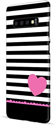 MADANYU Samsung S10 Plus Cover - Stripes with Pink Heart So Girly Designer Printed Slim Back Case Cover for Samsung S10 Plus (for Girls)
