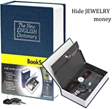 Book Safe with Metal Lock Box - HENGSHENG New English Dictionary fit Hidden Home Diversion Secret Book Safe Portable Travel Box with Key Lock Box Safe - Navy Blue