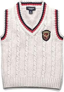 Fairy Baby Little Boy Outfit Badge Sweater Vest School Uniform V Neck Knit Waistcoat