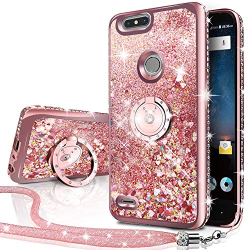 ZTE Blade Z Max Case, ZTE Blade Zmax Pro 2 Case, ZTE Sequoia Case, Silverback Girls Women Moving Liquid Holographic Glitter Case with Ring Stand Bling Case for ZTE Z982 -Rose Gold