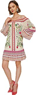 Umgee Women's Floral Scarf Print Off Shoulder Bell Sleeve Dress with Ruffle Hem