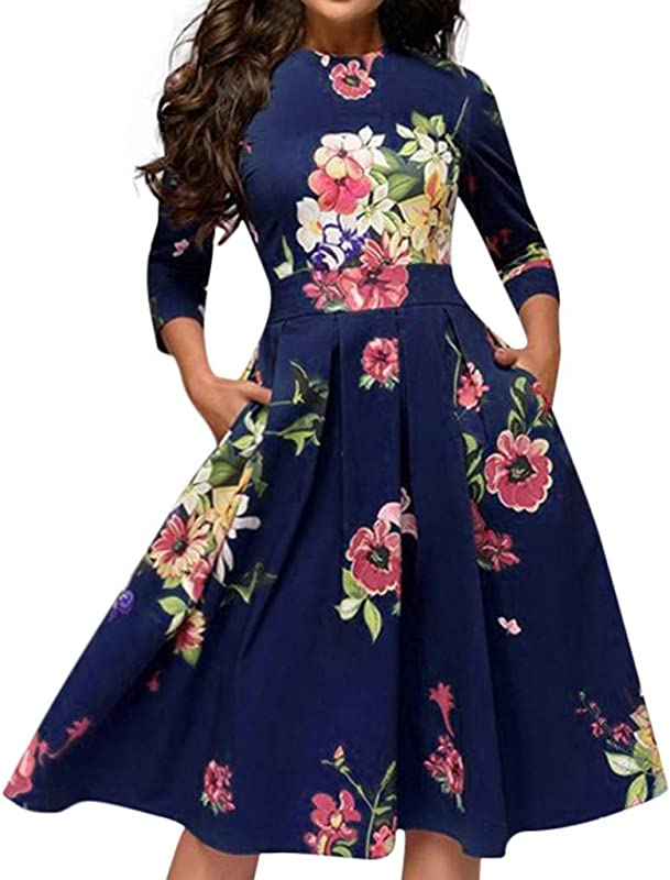 Usstore Women Girls Vintage A Line Dress Cropped Sleeve High Waist Floral Party Slim Dress