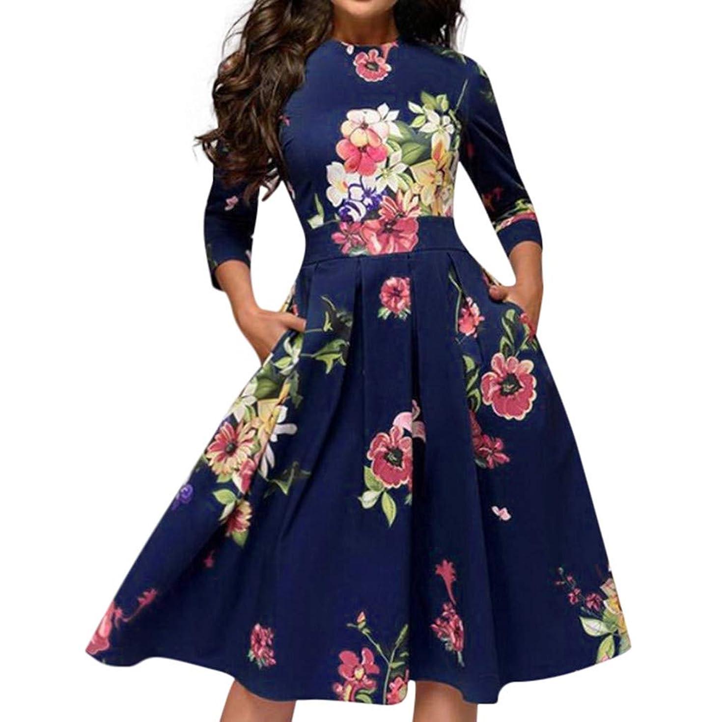 Peacur Women 3/4 Sleeve Dresses Elegent Vintage A-line Floral Print Party Work Midi Dress