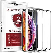 OMOTON [2 Stück Panzerglas Schutzfolie für iPhone XR (6.1 Zoll)/ iPhone 11, mit Schablone, volle Bedeckung,Anti- Kratzer,Bläschenfrei,9H Härte,HD-Klar,[3D Runde Kante]-Schwarz