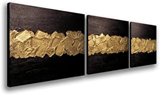 Elegance Canvas Wall Art Modern Handmade Oil Painting Black and Gold Abstract Artwork Wood Inside Framed Home Living Room ...