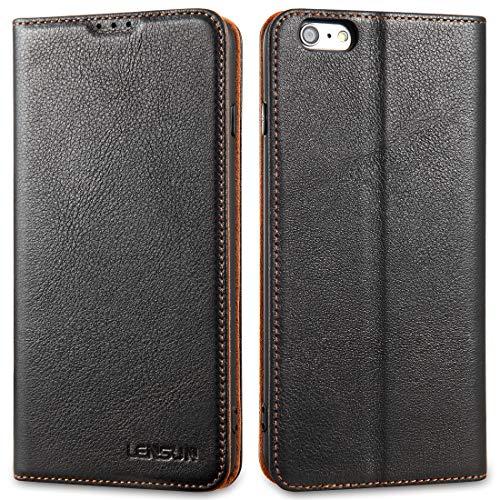LENSUN Echtleder Hülle für iPhone 6s Plus/iPhone 6 Plus, Leder Handyhülle Magnetverschluss Kartenfach Handytasche kompatibel mit iPhone 6+ / 6s+ (5,5 Zoll) – Schwarz(6P-DC-BK)