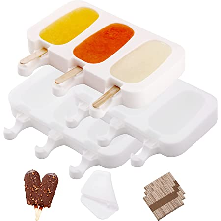 ACCEVO 9 Cellules moule à glace en silicone avec couvercle amovible + 150 pièces bâtons de bois, moule magnum cake blanc, moule sans BPA, moule à popsicle antiadhésif réutilisable, Sorbetière moules