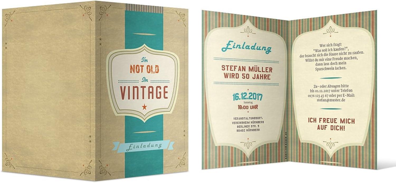 Einladungen Geburtstag (80 Stück) I'm not old I'm Vintage Vintage Vintage Retro Old School 40er 50er 60er 70er Karten B071NP7NTW | Billiger als der Preis  e79df6