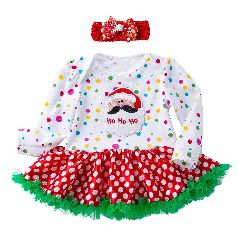 子供ドレス Jopinica 新生児 女の子 クリスマス サンタクロース ヘラジカ ポルカドット プリント ヘッドバンド プリンセススカート ウンドネック コットン 長袖 ミニスカート かわいい