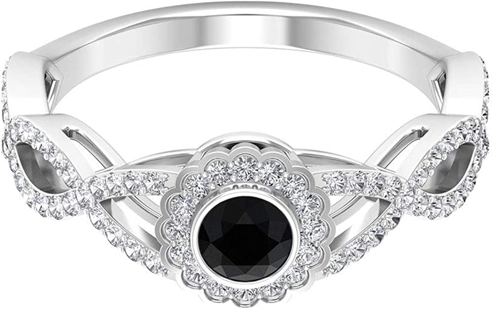 3/4 CT Diamond Halo Gold Ring, 4 MM Black Spinel Solitaire Engagement Ring, Round Shape Engagement Ring, Unique Wedding Ring, 14K Gold
