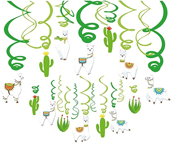 Kristin Paradise 30Ct Llama Cactus Hanging Swirl Decorations Alpaca Birthday Fiesta Party Supplies For Boy Girl Kids Baby Shower Classroom Llamacorn Peru Theme Decor 1st First Bday Favors