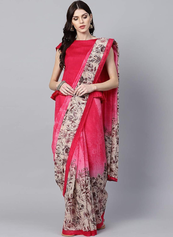 Inddus Pink Cotton Linen Printed Saree for women wedding