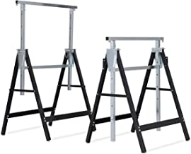 Goplus Folding Sawhorse Pair, 2-Pack Height Adjustable Saw Horses, Heavy Duty Portable Trestle, 440 lbs Weight Capacity Each (Adjustable)
