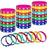 48 Pieces Paw Print Rubber Bracelets Multicolor...