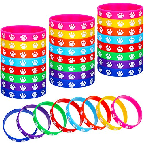 48 Pieces Paw Print Rubber Bracelets Multicolor Silicone Stretch Wristbands for Birthday Party Supplies