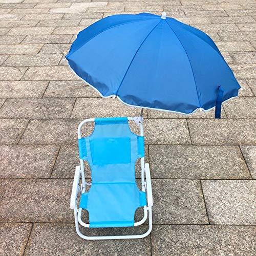 Silla Plegable al Aire Libre para niños Sillas y sombrillas de Playa recreativas Artefacto fotográfico Multifuncional Sillón reclinable portátil - Azul