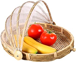 Food Bamboo Food Serving Tent Basket Hand-Woven Basket Serving Dustproof Round Picnic Basket Vegetable Fruits Bread Food Home Food Storage Basket with Mesh Gauze Cover Container