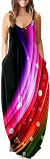 Oiumov Boho Dress for Women Casual Summer Sexy Spaghetti Strap Dress Beach Print Sundress Long Maxi Dress with Pockets