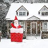 wolketon Papá Noel en Chimenea Inflable 120-160 cm Descenso Autómatico Luces LED Navidad Decoración Exterior y Interior