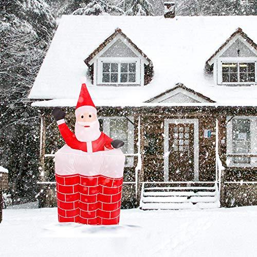 wolketon Gonfiabile di Babbo Natale Camino Gonfiabile Movimento Automatico Verticale Altezza Massima 160 cm con luci a LED Ideale per Feste di Natale Feste e Decorazioni per la casa
